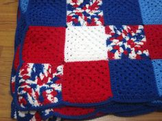 NO PATTERN, just color idea....Red White Blue Patriotic Crocheted Afghan by crochetedbycharlene, $100.00