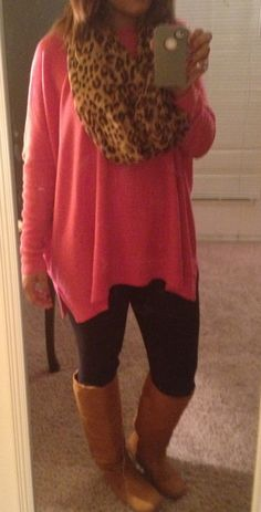 Another great fall outfit: pink oversized sweater, cheetah scarf, black leggings and riding boots