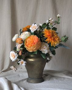 Silk English Rose, Sunflower, Camellia Floral Arrangement with a Vintage Gold Metal Vase Yellow Flower Arrangements, Artificial Floral Arrangements, Vase Arrangements, Flower Centerpieces, Flower Vases, Artificial Flowers, Flower Pots, Plum Flowers, Home Flowers
