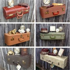 We had to share this idea from Krrb member Mandy Heth for upcycling colorful suitcases into creative shelving.