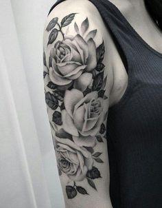 219135c562504 Shape, subject and style Arm Sleeve Tattoos, Roses Half Sleeve Tattoo, Half  Sleeve