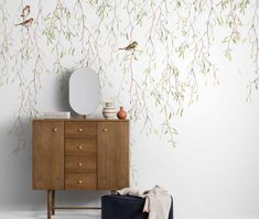 Spring birds, wallpaper mural designed by Mr Perswall. Bird Bedroom, Bedroom Murals, Bedroom Wall, Bedroom Decor, Bird Wallpaper, Nursery Wallpaper, Spring Wallpaper, Photo Wallpaper, Kindergarten Wallpaper