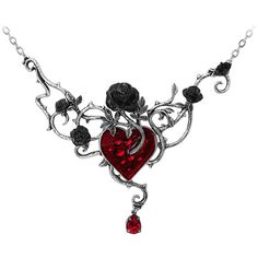 Alchemy Gothic Bed Of Blood Pendant ($70) ❤ liked on Polyvore featuring jewelry, pendants, goth jewelry, crystal pendant, crystal jewelry, crystal jewellery and crystal stone jewelry