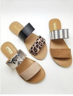 Women's Trendy Clothes, Shoes and Accessories shoes cute sandals Double Strap Sandal Cute Sandals, Slide Sandals, Cute Shoes, Me Too Shoes, Shoes Sandals, Leopard Sandals, Flat Sandals, Trendy Sandals, Trendy Shoes