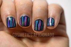 teal, purple, holographic, nail art, nail art for nubs, nail art on short nails