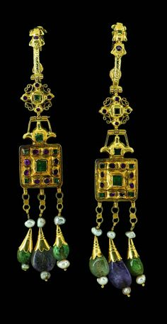 Morocco | Earrings; gold, enamel, emeralds, rubies, amethysts and freshwater pearls, 17th century Ancient Jewelry, Old Jewelry, Tribal Jewelry, Stone Jewelry, Jewelry Art, Antique Jewelry, Vintage Jewelry, Jewelry Design, Moroccan Jewelry