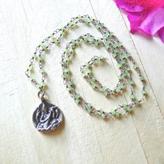 """30"""" Green Calcite Rosary Necklace with Saraswati Buddha Pendant by 137point5"""