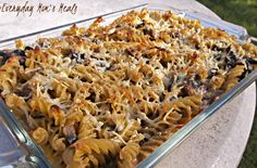 ~Portobello Mushroom Bake~ Combing the comfort foods of pasta and casserole, this simple weeknight meal is packed full of mushroom flavor and just a touch of cream.