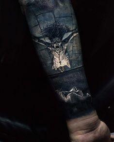 If you so dare to invite the Demon... Skull Tattoos, Scary Tattoos, Insane Tattoos, Tatoos, Sleeve Tattoos, Body Art Tattoos, Great Tattoos, Tattoos For Guys, Future Tattoos