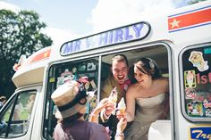 The lovely bride & groom serving ice creams to their guests :) x #wedding #icecreamvan