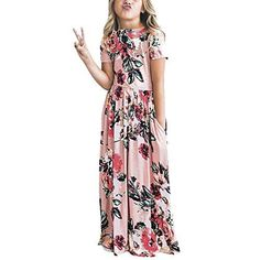 a11445a12efd HOOYON Dresses Girl s Floral Printed Short Sleeve Casual Summer Long Maxi  Dress with Pockets