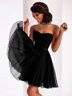 A-Line Strapless Short Black Chiffon Party Evening Prom Dresses 5801031