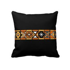 Black African pattern pillow
