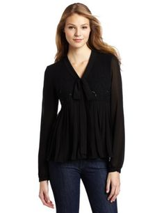Robbi & Nikki Women's Floral Embroidered Blouse, Black, Small Robbi & Nikki. $101.25. Long-sleeved. Dry Clean Only. Front: 100% Polyester; Back Yoke: 100% Cotton. V-neck tie front. Made in China