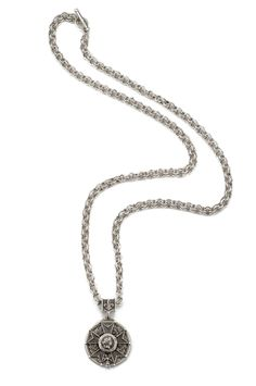 """34"""" antiqued sterling silver-clad double cable chain with Camerone medallion backplate and Honour medallion. http://www.frenchkande.com"""