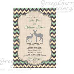 Woodland Baby Boy Shower Invitation  Green by GreenCherryFactory, $18.00