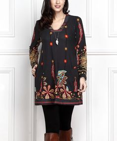 Charcoal Paisley Square Neck Tunic - Plus Too