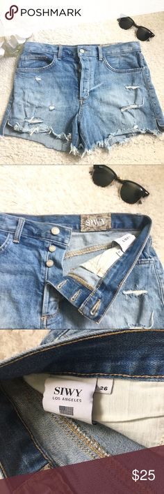 SIWY Denim Distressed High Waisted Shorts ✨ SIWY Denim Distressed High Waisted Shorts ✨ In great condition. No stains. Perfect for spring & summer! Size 26. Open to offers! :) Siwy Shorts Jean Shorts