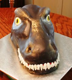 T-Rex Head Cake, front view