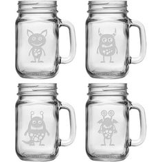 Serve chilled cider or festive punch with these mason-inspired drinking jars, showcasing etched monster details for a touch of whimsy.