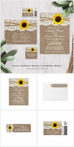 Sunflowers Burlap & Lace WEDDING SET COLLECTION Country Rustic Chic Pretty Personalized Sunflower Invites Announcements Invitations Postage Stamps Labels Stickers Thank You RSVP Cards & More!