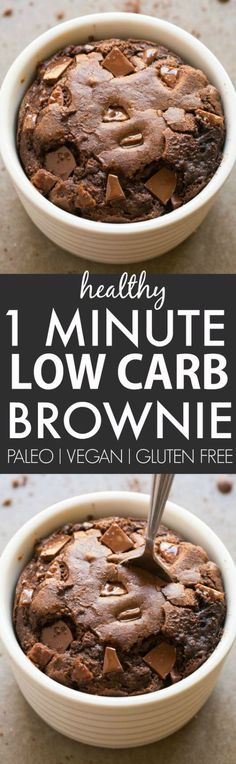Healthy 1 Minute Low Carb Brownie- Oven option too- Moist, gooey and tender on the outside, it's the perfect snack, dessert or treat to enjoy anytime- Packed with protein and completely sugar free and grain free! {vegan, gluten free, paleo recipe}- thebigmansworld.com: