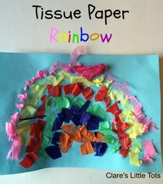 Tissue paper rainbow great for learning about colours, fine motor skills and would make a lovely St Patrick's Day craft for toddlers or preschoolers. Rainbow Activities, Preschool Themes, Kids Learning Activities, Toddler Crafts, Crafts For Kids, Storybook Crafts, Halloween Crafts, Christmas Crafts, St Patrick's Day Crafts