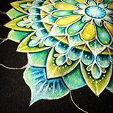 More #workinprogress #mandala #art #carandache #detail #drawing #bluegreen #lightinthedark