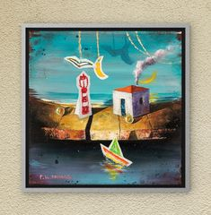 The symbols of the childhood innocence in Dreamland. Oil on canvas. Oil On Canvas, Canvas Wall Art, Night Skies, Childhood Memories, Fairy Tales, Symbols, Paintings, Sky, The Originals