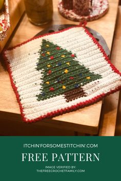 This free tapestry crochet christmas tree potholder pattern is a great addition to your home for the holidays this year! Crochet Christmas Trees, Christmas Crochet Patterns, Holiday Crochet, Christmas Crafts, Reverse Single Crochet, Crab Stitch, Foundation Single Crochet, Sewing Machine Thread, Potholder Patterns