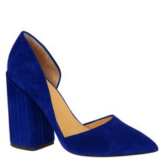 indigo blue suede d'orsay pumps with covered block heel, from taleted Austrian Designer Petar Petrov. Available from shop.wunderl.com