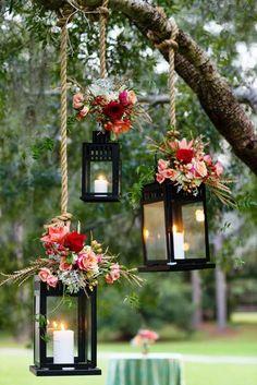 New Backyard Wedding Ceremony Tree Lanterns Ideas Wedding Trends, Trendy Wedding, Unique Weddings, Diy Wedding, Rustic Wedding, Wedding Venues, Wedding Flowers, Wedding Day, Outdoor Weddings