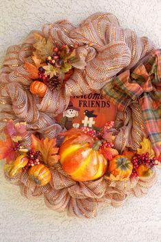 Fall Deco Mesh Pumpkin Wreath Welcome by Designerwreaths2013