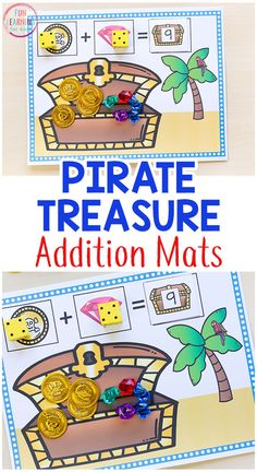 These pirate treasure addition mats make learning math hands-on and engaging for kids! - Education and lifestyle Preschool Pirate Theme, Pirate Activities, Math Activities For Kids, Fun Math Games, Math For Kids, Numeracy Activities, Number Activities, Pirate Treasure, Math Concepts