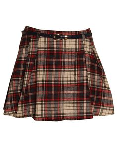 Tartan Print Belted High Waisted Skater Skirt in Red/ Navy £ 12.95 #chiarafashion #tartan #print #skater #skirt #high #waisted #trend #style