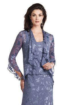 Embroidered chiffon dress with scooped neck and fluted sleeved jacket Product Code: 88497 Colour: Delphinium
