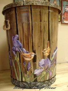 trash can...Hand made, wood painting