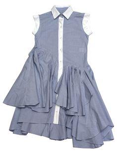 Sleevless striped dress / buttoned placket
