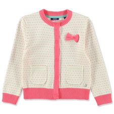 Mexx Kids Girls Knitted Heart Cardigan with Bow Applique