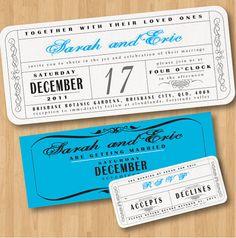 ticket style invites! so cute!