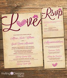 Rustic WEDDING Invitation in Marsala and Mauve, Love Bird, Vintage, RSVP Card Accommodations Card, Wedding Invitation Suite (PRINTABLE file) by InvitingDesignStudio on Etsy