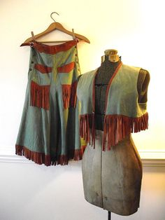 1950s Cowgirl Riding Outfit, Leather Gaucho Skirt and Vest - for the Vargas girl in you.