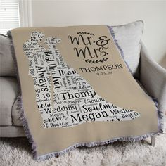 Create a special wedding couple gift with a wedding silhouette word art personalized afghan. Free personalization on all personalized wedding throw blanket. Traditional Anniversary Gifts, Unique Anniversary Gifts, Anniversary Gifts For Parents, Personalized Anniversary Gifts, First Wedding Anniversary, Daughter In Law Quotes, Wedding Wording, Word Art Design, Wedding Silhouette