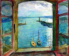 "urgetocreate: "" Charles Camoin, Window Overlooking the Port of Saint-Tropez - the Artist's Studio - circa 1963 "" Henri Matisse, Saint Tropez, Post Impressionism, Collaborative Art, Window Art, French Artists, Painting & Drawing, Modern Art, Illustrations"