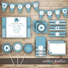 Elephant Baby Shower / Chevron & Polka Dots / Blue and Gray PARTY PACKAGE / Baby Boy Party Kit - Printable. $30.00, via Etsy.