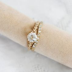 Center old european cut diamond weighs .78 carats and has been Certified by the GIA as J color and SI1 clarity - (GIA# 5202485603 ). Set in a 14k yellow gold setting with a six prong crown beautiful filligree sides. This elegant ring is a replica of an original vintage engagement ring. Wedding band is L112014. Engagement Ring Settings, Vintage Engagement Rings, European Cut Diamonds, Gold Set, Diamond Cuts, Wedding Bands, Clarity, Eclectic Wedding, Crown