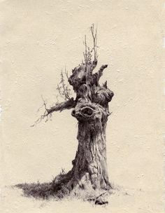 "Group art show in Brookly uncovers the power of simplicity: all artists use just ballpoint pens to make their drawings. Many artists think of drawing as a ""practice run,"" or a medium of… Tree Drawings Pencil, Ink Pen Drawings, Landscape Sketch, Landscape Drawings, Tree Study, Ballpoint Pen Drawing, Tree Sketches, Environment Concept Art, Pen Art"