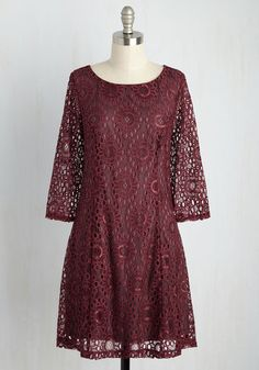 First Expressions are Everything Lace Dress by ModCloth - Red, Solid, Casual, Boho, Shift, 3/4 Sleeve, Fall, Woven, Best, Exclusives, Private Label, Mid-length, Summer, Party, Daytime Party, Mod, Lace, Homecoming, Store 2, ModCloth Label, Lace