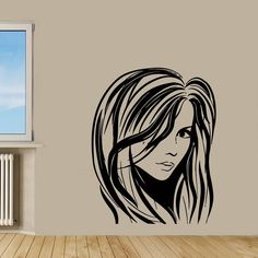 Wall Decals Vinyl Decal Sticker Art Murals Fashion Woman Hair Salon Decor Kj478