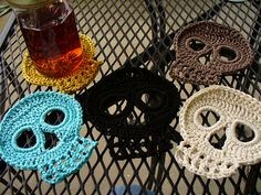 Ravelry: Mushroom's Skull Coasters  @Chris Roe Bogner and @Patricia Smith Studer   Just a thought...